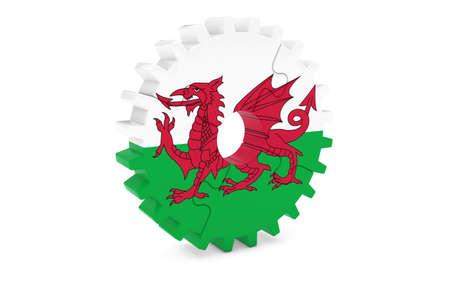welsh flag: Welsh Industria Concept - Bandiera del Galles 3D Cog Wheel puzzle illustrazione Archivio Fotografico