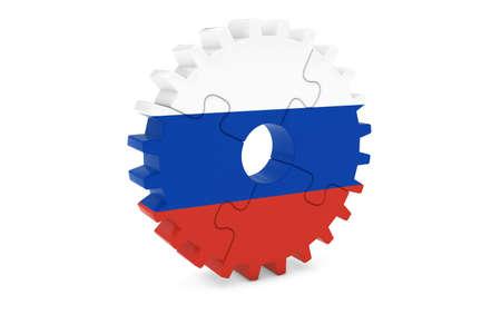ロシア産業コンセプト - ロシア 3 D Cog ホイール パズル イラストの旗 写真素材
