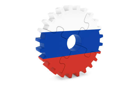 russian  russia: Russian Industry Concept - Flag of Russia 3D Cog Wheel Puzzle Illustration