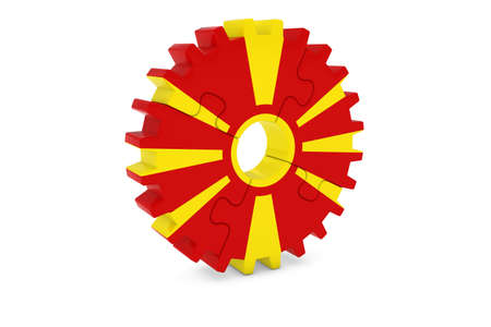 macedonian flag: Macedonian Industry Concept - Flag of Macedonia 3D Cog Wheel Puzzle Illustration Stock Photo