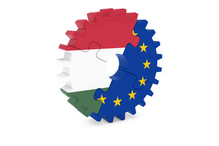 hungarian: Hungarian and European Cooperation Concept 3D Illustration Stock Photo