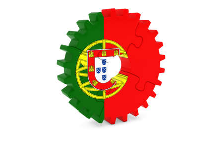 ポルトガル産業コンセプト - ポルトガル 3 D Cog ホイール パズル イラストの旗