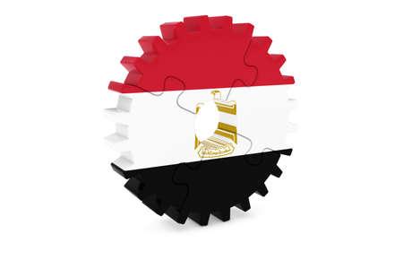エジプト産業コンセプト - エジプト 3 D Cog ホイール パズル イラストの旗 写真素材