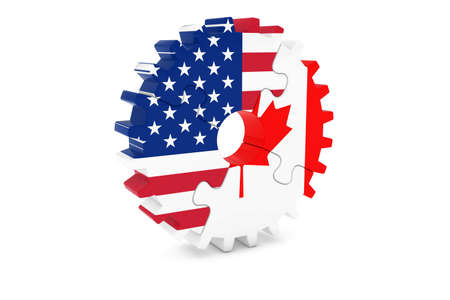 canadian: American and Canadian Cooperation Concept 3D Illustration