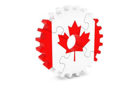 カナダの産業の概念 - カナダ 3 D Cog ホイール パズル イラストの旗 写真素材