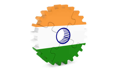 india 3d: Indian Industry Concept - Flag of India 3D Cog Wheel Puzzle Illustration