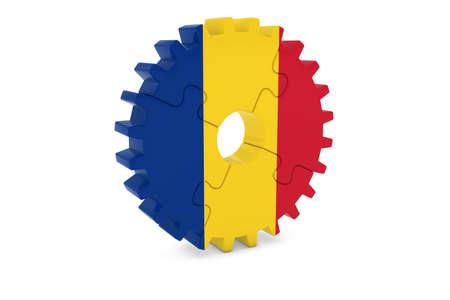 ルーマニア産業コンセプト - ルーマニア 3 D Cog ホイール パズル イラストの旗 写真素材