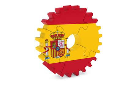 スペイン産業コンセプト - スペイン 3 D Cog ホイール パズル イラストの旗