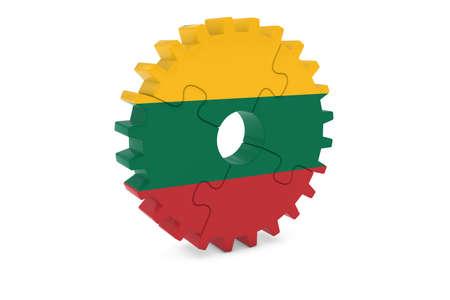 リトアニア業界コンセプト - リトアニア 3 D Cog ホイール パズル イラストの旗