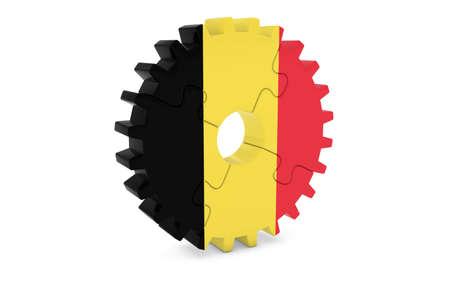 ベルギー企業コンセプト - ベルギー 3 D Cog ホイール パズル イラストの旗 写真素材