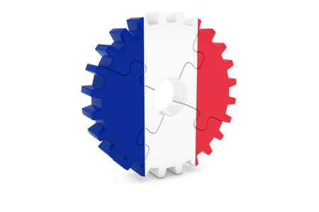 フランスの業界コンセプト - フランス 3 D Cog ホイール パズル イラストの旗