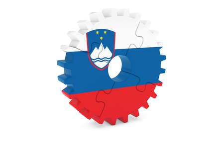 スロベニア語業界コンセプト - スロベニア 3 D Cog ホイール パズル イラストの旗