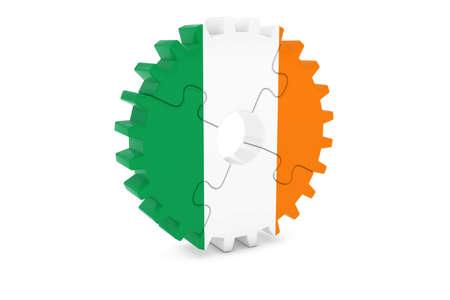 アイルランド産業コンセプト - アイルランド 3 D Cog ホイール パズル イラストの旗 写真素材