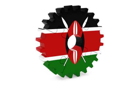 ケニア業界コンセプト - ケニア 3 D Cog ホイール パズル イラストの旗