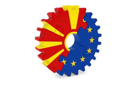 macedonian: Macedonian and European Cooperation Concept 3D Illustration Stock Photo