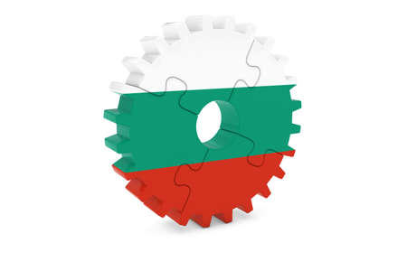 bulgarian: Bulgarian Industry Concept - Flag of Bulgaria 3D Cog Wheel Puzzle Illustration