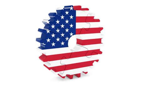 アメリカの企業コンセプト - 米国 3 D Cog ホイール パズル イラストの旗