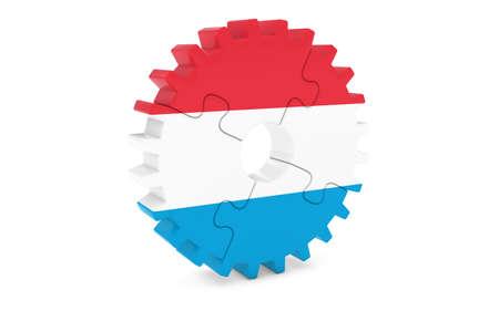 ルクセンブルク企業コンセプト - ルクセンブルク 3 D Cog ホイール パズル イラストの旗