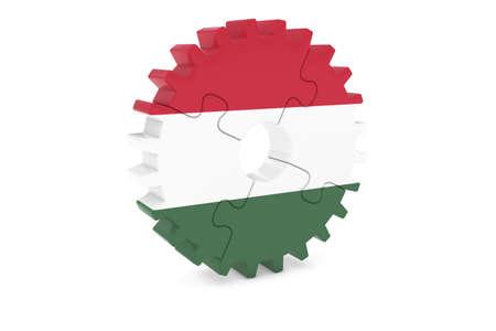 ハンガリー産業コンセプト - ハンガリー 3 D Cog ホイール パズル イラストの旗