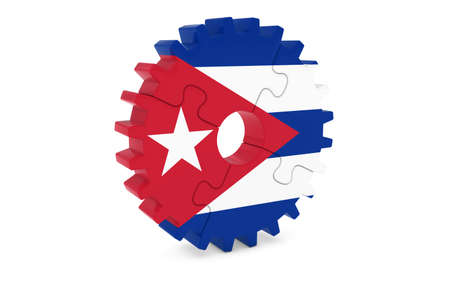 cuban flag: Cuban Industry Concept - Flag of Cuba 3D Cog Wheel Puzzle Illustration Stock Photo