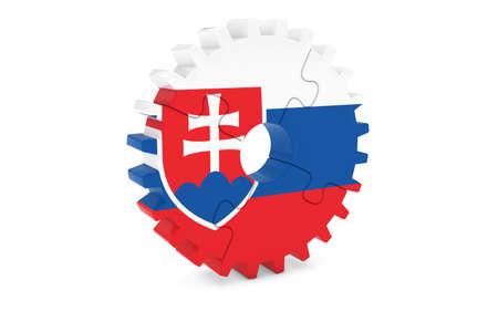 slovakian: Slovakian Industry Concept - Flag of Slovakia 3D Cog Wheel Puzzle Illustration Stock Photo