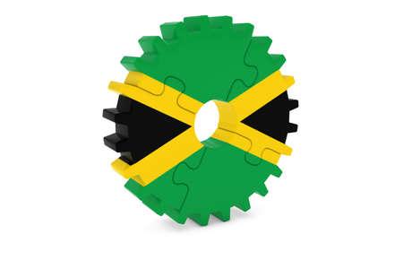 ジャマイカ産業コンセプト - ジャマイカ 3 D Cog ホイール パズル イラストの旗