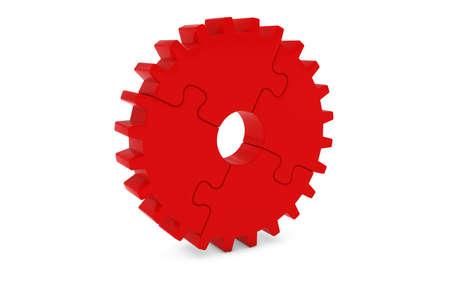 赤い歯車ホイール パズル 3 D イラスト
