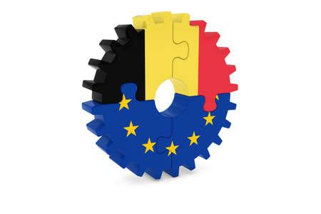 ベルギーと欧州の協力の概念 3 D イラスト