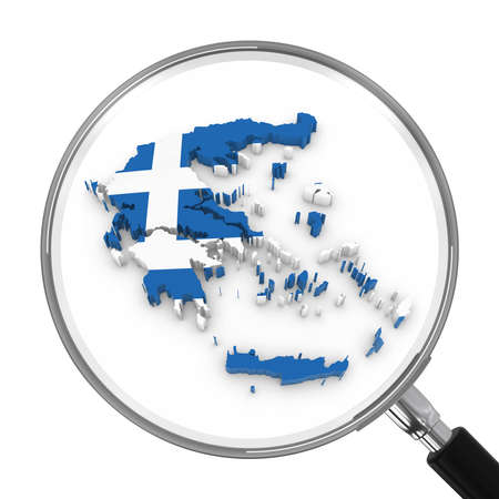 zoomed: Greece under Magnifying Glass - Greek Flag Map Outline - 3D Illustration