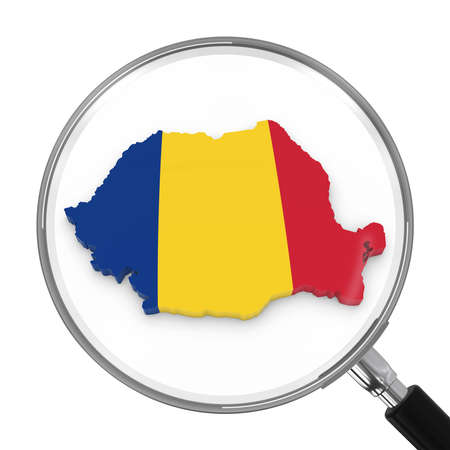 zoomed: Romania under Magnifying Glass - Romanian Flag Map Outline - 3D Illustration