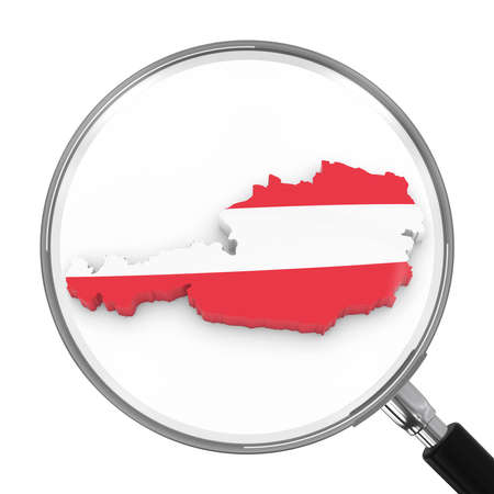 Austria under Magnifying Glass - Austrian Flag Map Outline - 3D Illustration