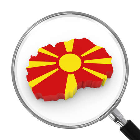 zoomed: Macedonia under Magnifying Glass - Macedonian Flag Map Outline - 3D Illustration Stock Photo