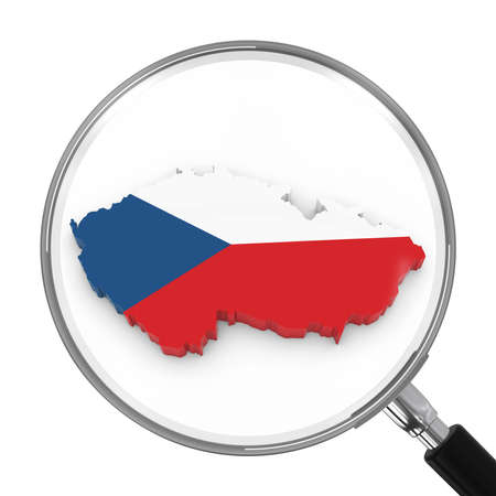 zoomed: Czech Republic under Magnifying Glass - Czech Flag Map Outline - 3D Illustration