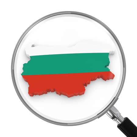 zoomed: Bulgaria under Magnifying Glass - Bulgarian Flag Map Outline - 3D Illustration