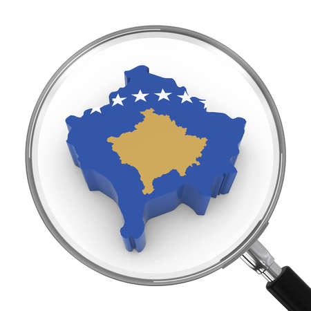 zoomed: Kosovo under Magnifying Glass - Kosovan Flag Map Outline - 3D Illustration