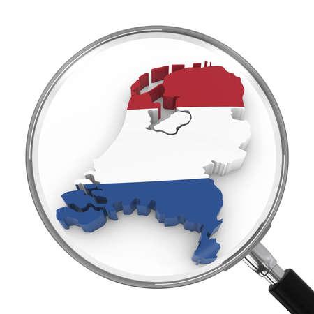 zoomed: Netherlands under Magnifying Glass - Dutch Flag Map Outline - 3D Illustration