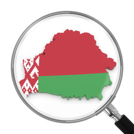 zoomed: Belarus under Magnifying Glass - Belarusian Flag Map Outline - 3D Illustration