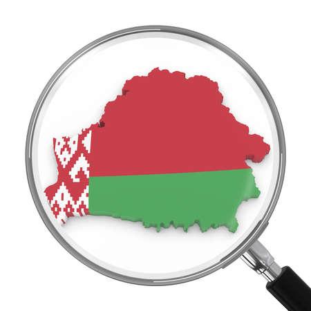 zoomed: Belarus under Magnifying Glass - Belarusian Flag Map Outline - 3D Illustration