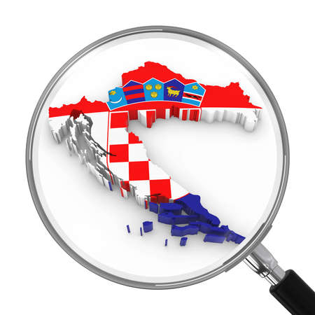 focal: Croatia under Magnifying Glass - Croatian Flag Map Outline - 3D Illustration Stock Photo