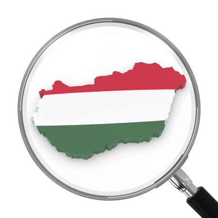 zoomed: Hungary under Magnifying Glass - Hungarian Flag Map Outline - 3D Illustration