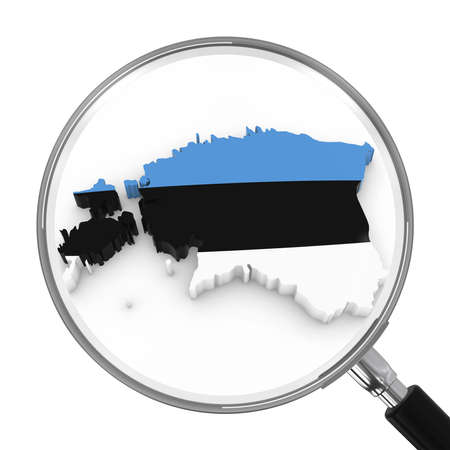 Estonia under Magnifying Glass - Estonian Flag Map Outline - 3D Illustration Stock Photo