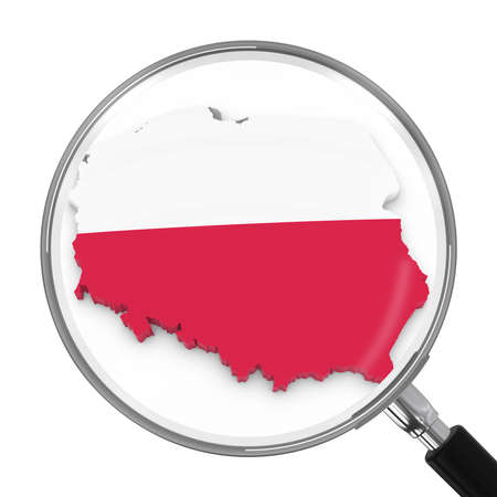 zoomed: Poland under Magnifying Glass - Polish Flag Map Outline - 3D Illustration