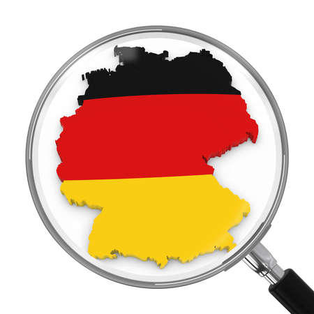 zoomed: Germany under Magnifying Glass - German Flag Map Outline - 3D Illustration Stock Photo