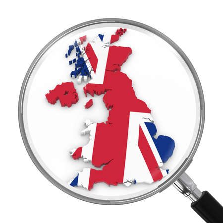 zoomed: UK under Magnifying Glass - British Flag Map Outline - 3D Illustration