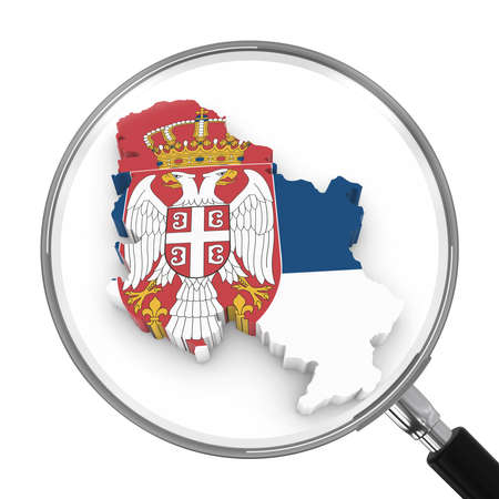 zoomed: Serbia under Magnifying Glass - Serbian Flag Map Outline - 3D Illustration Stock Photo