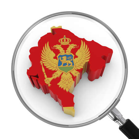 zoomed: Montenegro under Magnifying Glass - Montenegrin Flag Map Outline - 3D Illustration Stock Photo