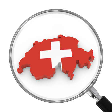 zoomed: Switzerland under Magnifying Glass - Swiss Flag Map Outline - 3D Illustration