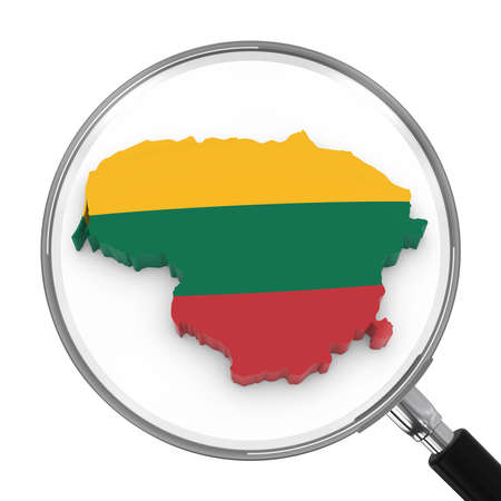 zoomed: Lithuania under Magnifying Glass - Lithuanian Flag Map Outline - 3D Illustration