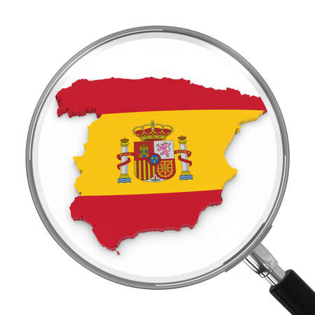 spanish flag: Spain under Magnifying Glass - Spanish Flag Map Outline - 3D Illustration Stock Photo