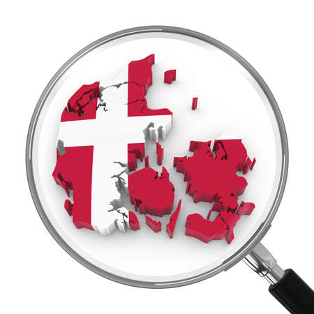 zoomed: Denmark under Magnifying Glass - Danish Flag Map Outline - 3D Illustration Stock Photo